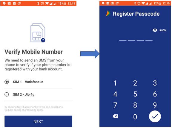 BHIM app sim selection