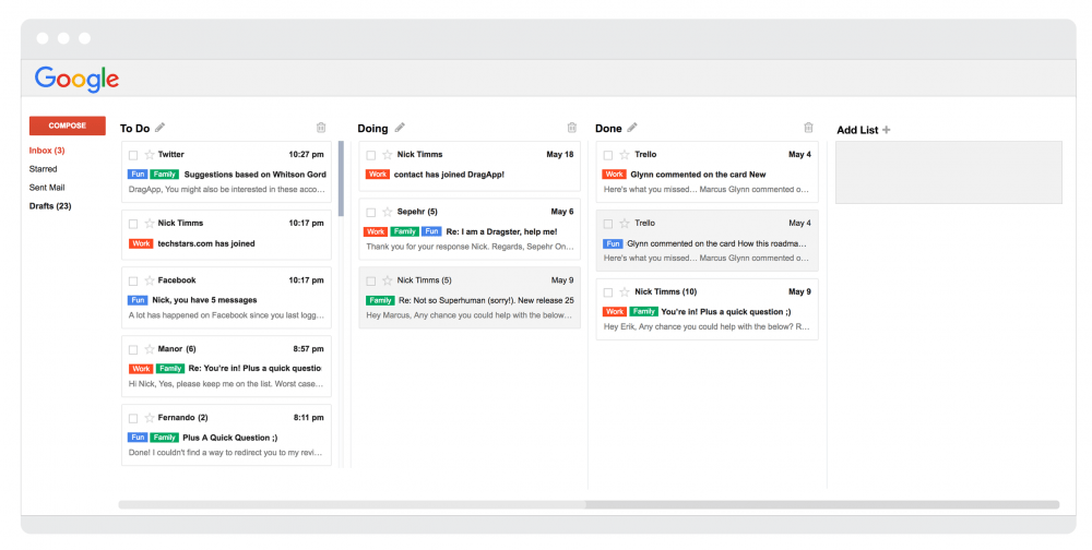 Drag chrome extension to manage the gmail