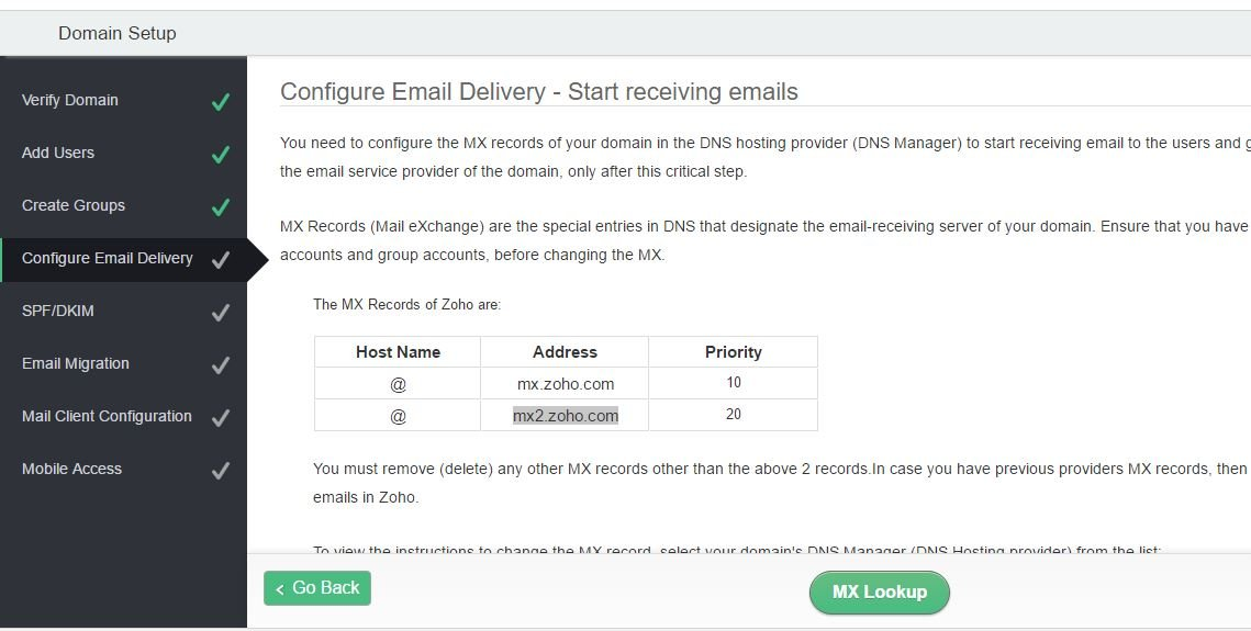 Mx records for free email address