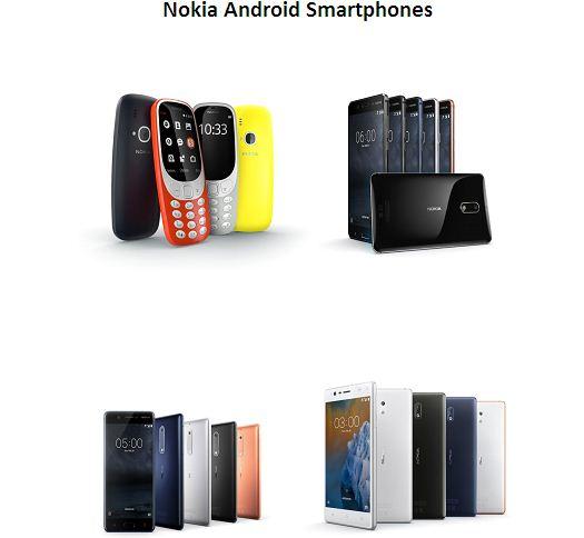 Nokia Android smartphones series including Nokia 3310 dual sim 2017
