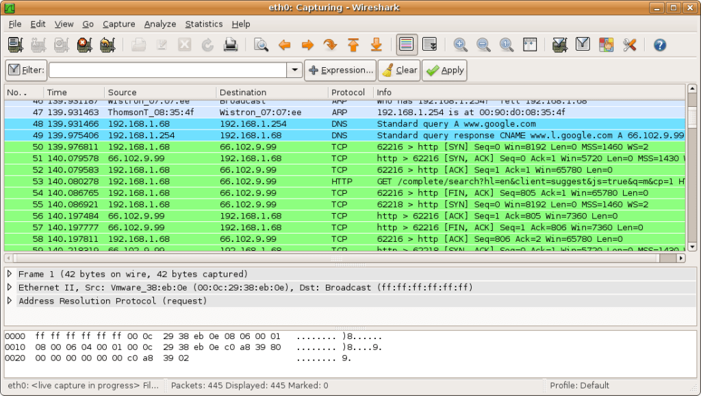 Wireshark bandwidth monitor