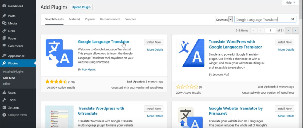 WordPress Google translater