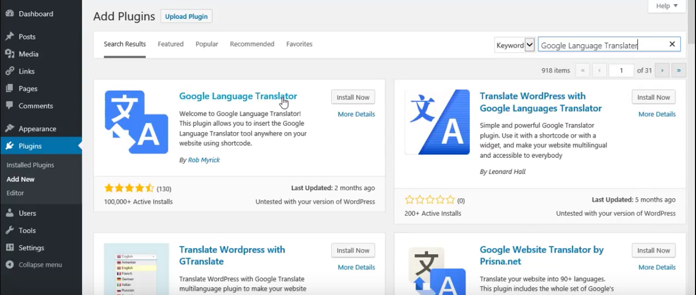 WordPress Google translater