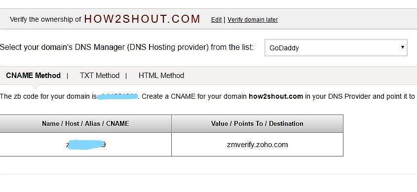 Zoho mail DNS configuration