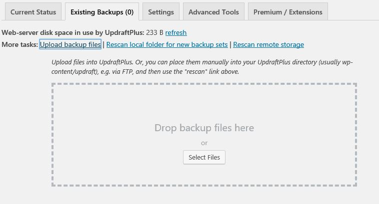 Updraftplus WordPress backup restore