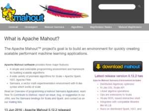 Apache Mahout project scalable performant machine learning applications