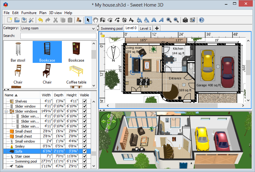 SweetHome3D openosurce CAD software