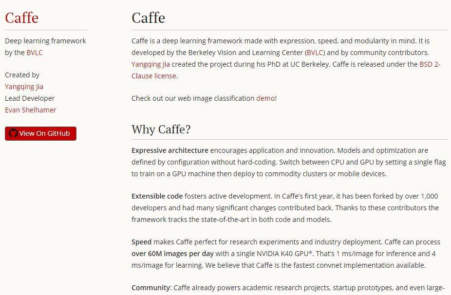 caffe artificial intelligence tool