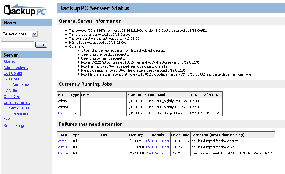 BackupPC open source backup software