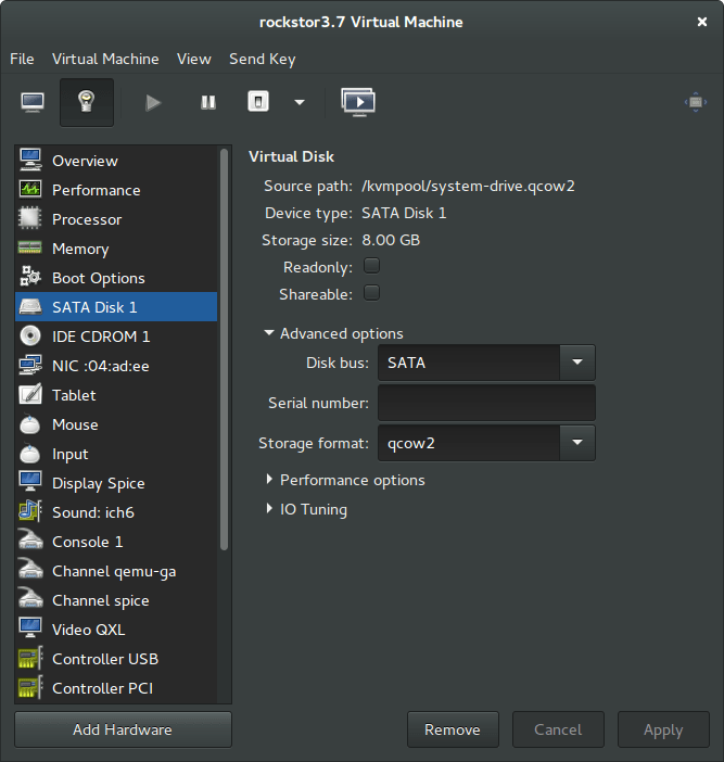 NAS rockstor details system drive cloud