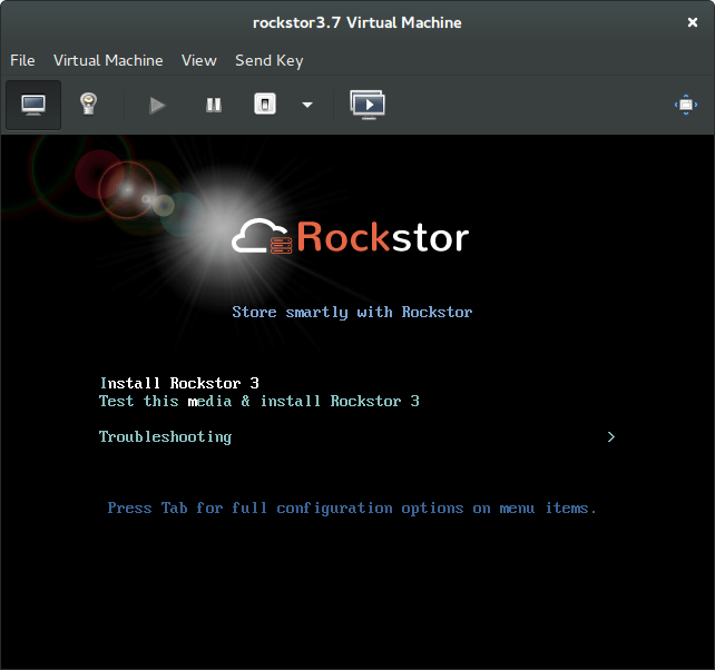 Rockstor On Debian in Virtual Machine vmm iso boot