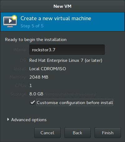 Rockstor On Debian in Virtual Machine vmm