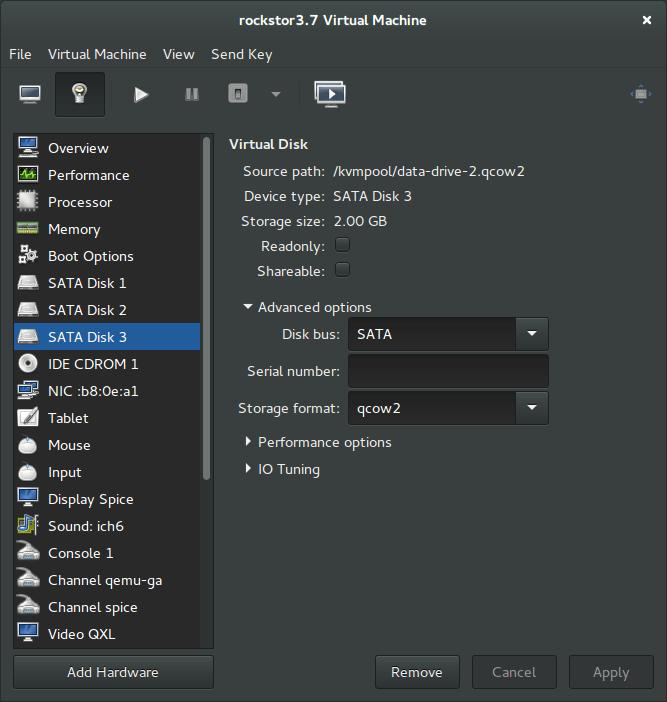 Rockstor added data drives sata
