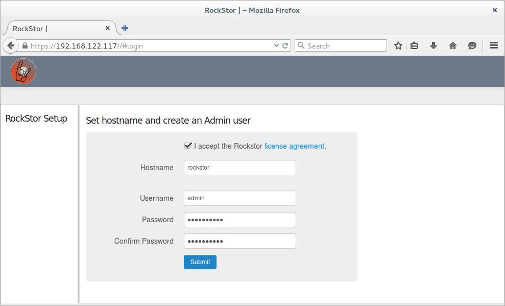 rockstor first login page