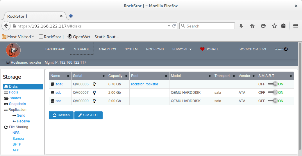 rockstor storage data drives