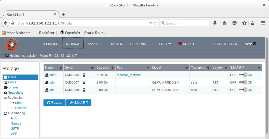 rockstor storage data drives
