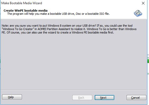 Make bootable media AOMEI partition assistant