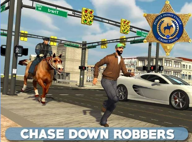Police Horse Chase Crime Town horse game
