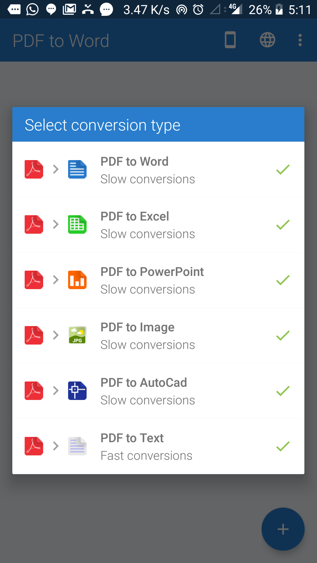 Android PDF to Word conversion types