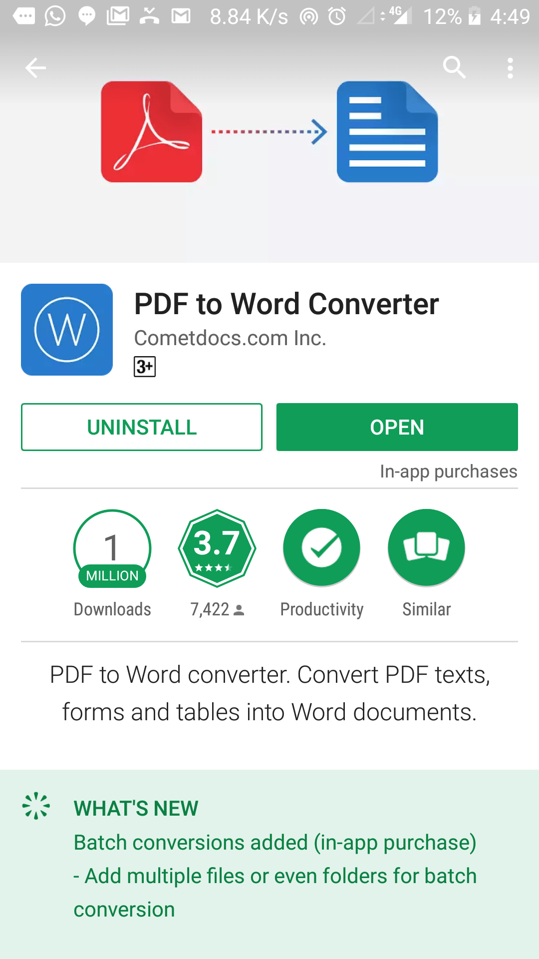 Android PDF to Word convertor