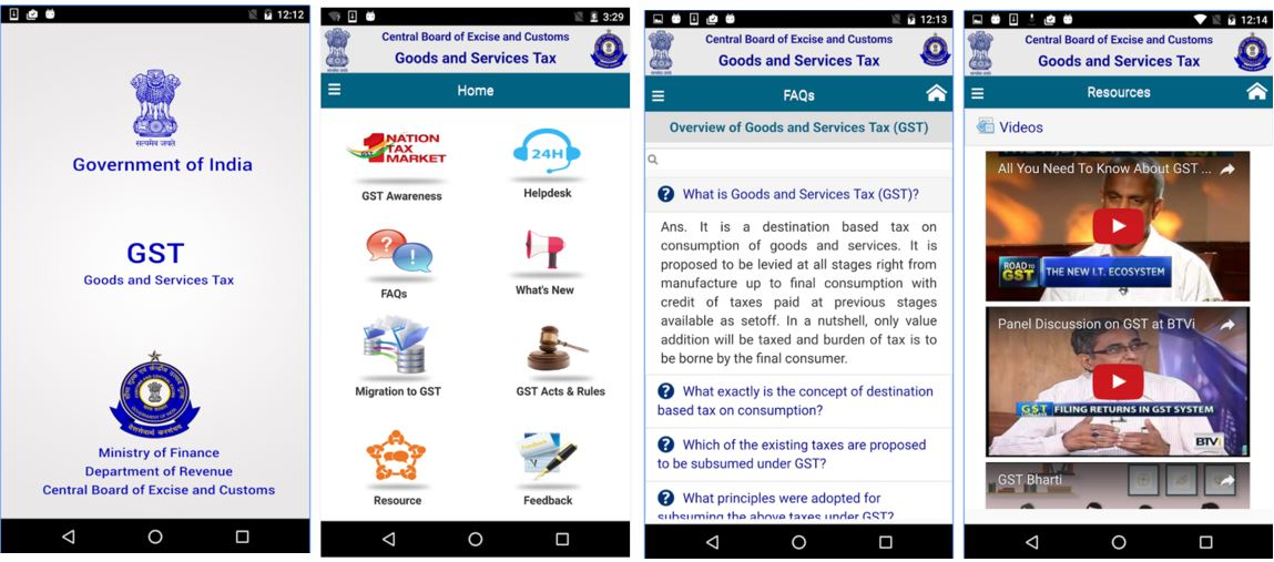 CBEC GST Goods and Services Tax mobile GST apps