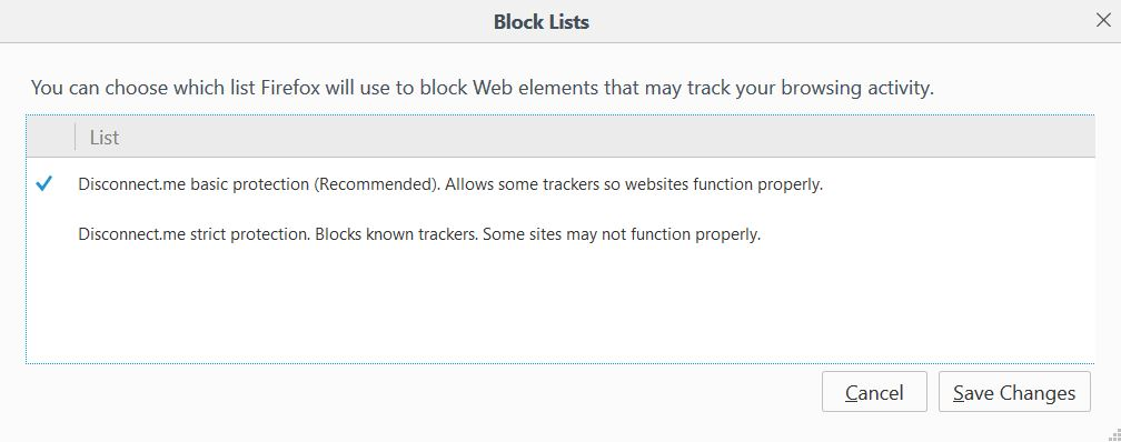Firefox will use to block Web elements that may track your browsing activity