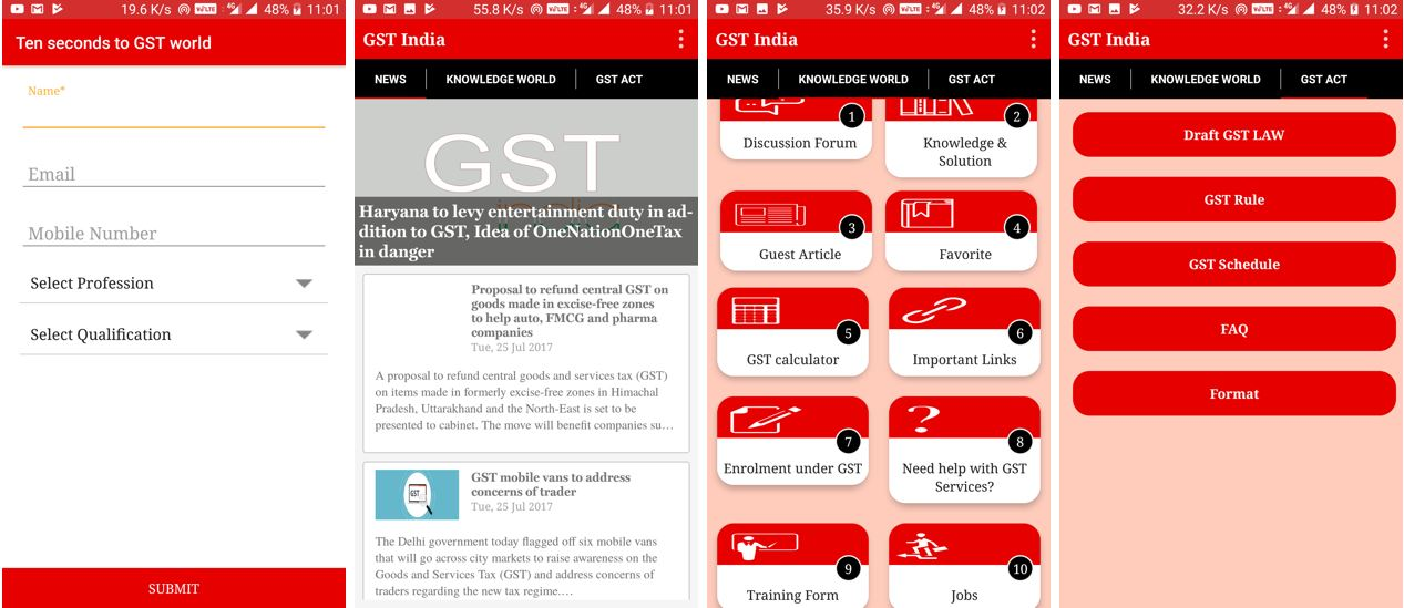 GST India gst mobile apps along GST Calculator and Updated Acts and Rules
