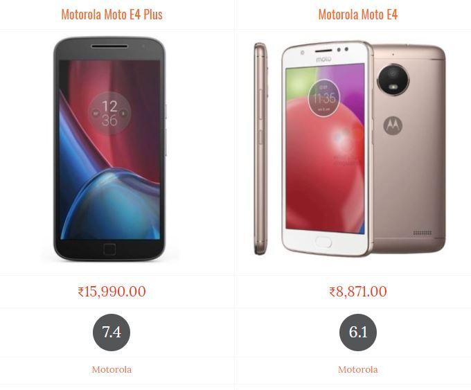 Motorola Moto E4 Plus vs Motorola Moto E4 Compare Price and Specifications