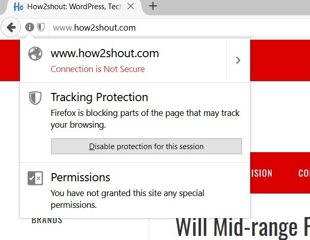 Private browsing in Firefox disable protection for this session