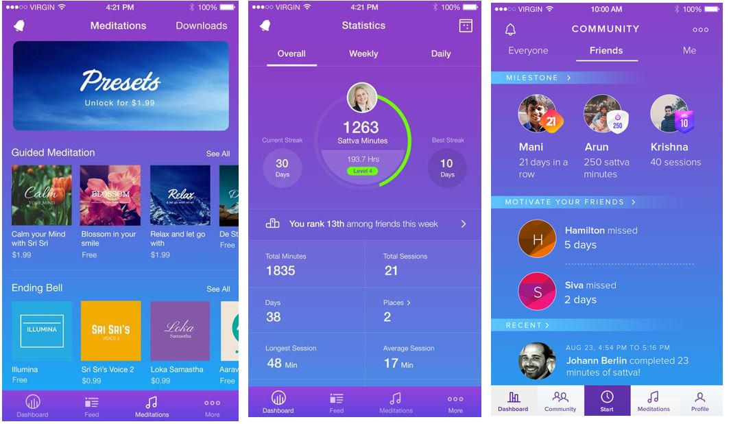 Best free meditaion apps sattva for guided meditation, yoga and chants