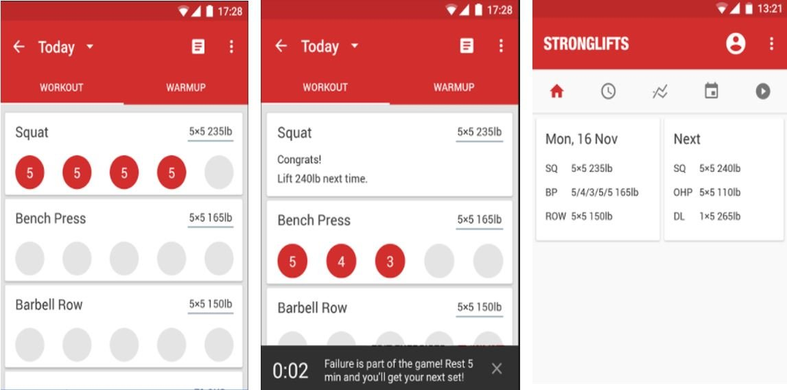 Strognlifts workout routine app and Videos of workout and exercises in our Best Workout Apps list