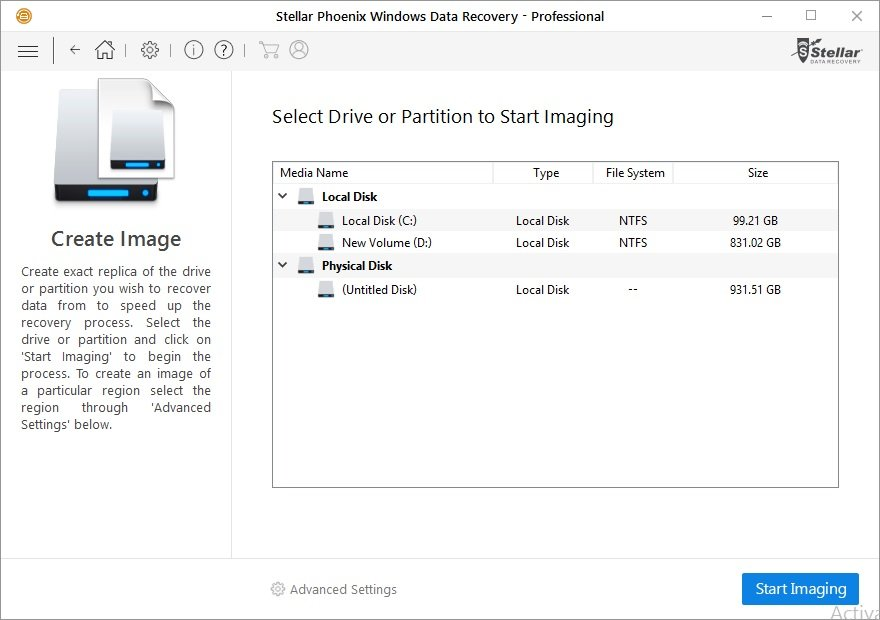 create exact replica of the drive or partition. just click on the start imagin in this data recovery pro software