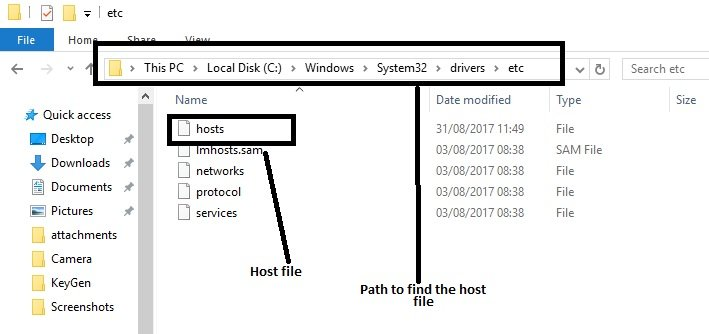 how to locate the host file in windows 7 or 10