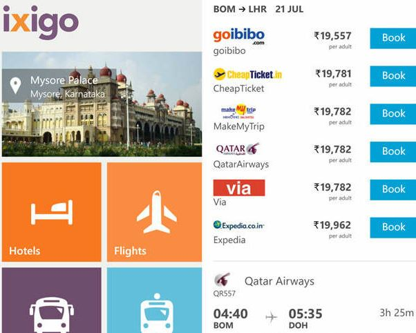 ixigo travel app know and compare the rate of flights