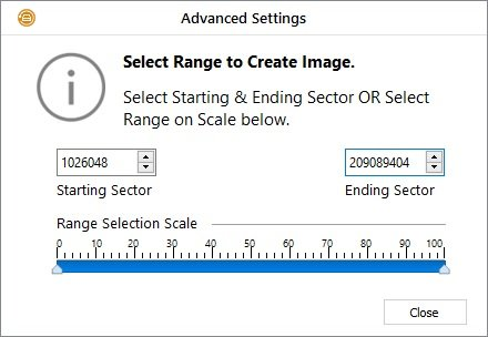 stARTING ANd ending sector to create image