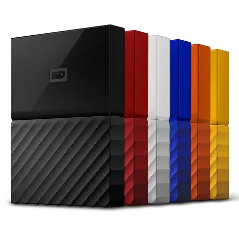 WD My Passport 2TB external hard drive review comes in six colors blue, white. yellow,orange and black