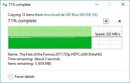 sped test wd 500GB blue SSD