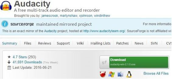 Audacity A free multi-track audio editor and recorder