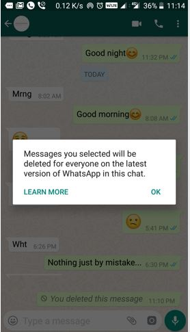 Delete whatsapp message for everyone feature