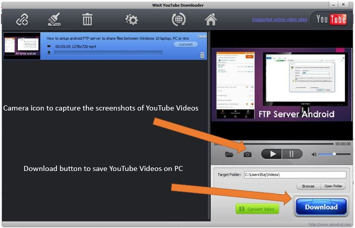 How to caputre the screenshots of Youtube videos