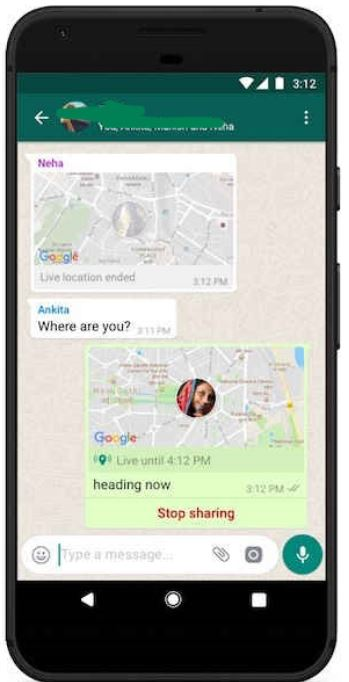 Live location shares will show up in WhatsApp chats as thumbnails