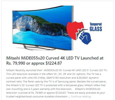 Mitashi MiDE055v20 Curved 4K LED TV