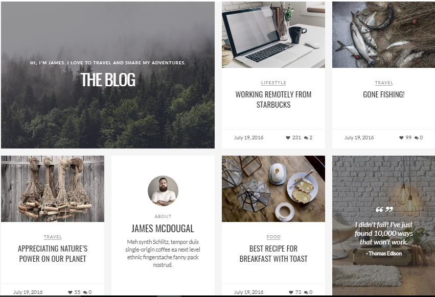 Modern Blog WordPress Theme instagram style