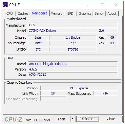 CPU and Motherboard details using CPU-Z