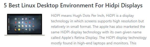 Linux desktop environment for Hidpi