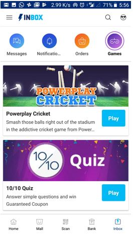 Paytm inbox features games tab