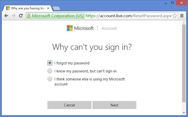 Reset Microsoft Account Password in Windows 10