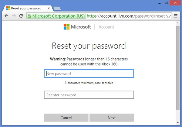 Reset Windows 10 password using microsoft account