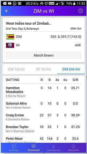 Scorecard of Yahoo cricket app review