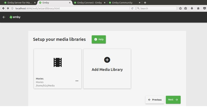 Succesfully addes media library in emby home server